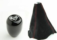 Black Leather-Tan Thread Compatible with Hyundai Genesis Coupe 2008-12 RedlineGoods Shift Boot AUTO