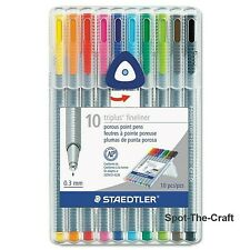 STAEDTLER Triplus Fineliner Red .03 mm Box of 10 Made in Germany 334-2