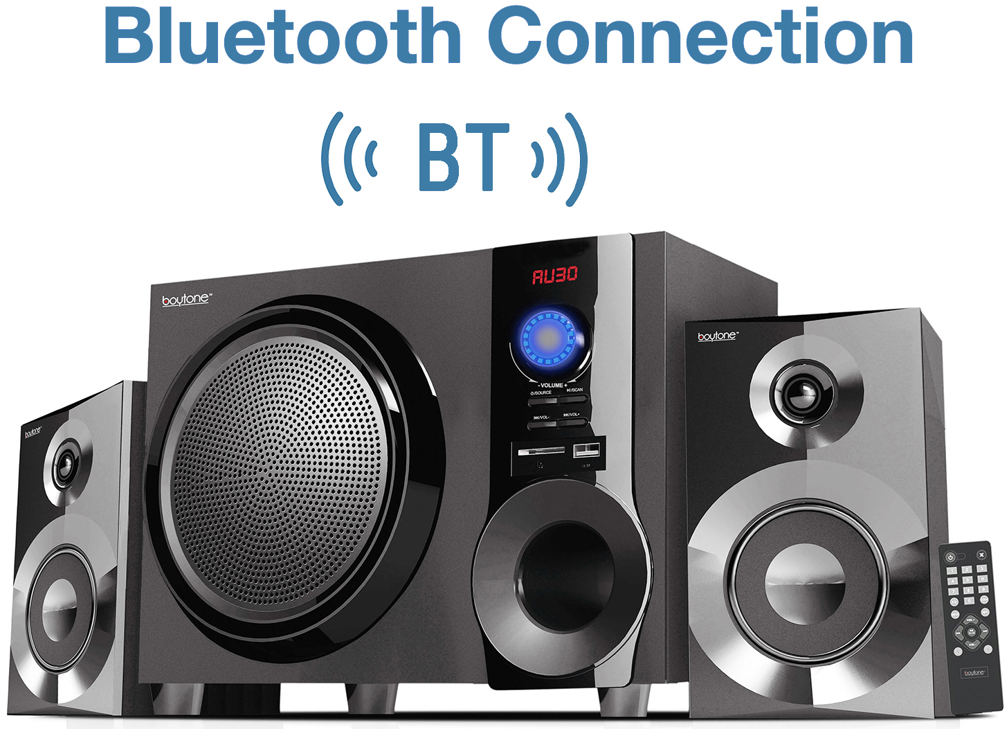 Deeper Bass USB Recording 25W Boytone BT-16G Portable Bluetooth Boombox Speaker LED Light Microphone Indoor//Outdoor EQ 9H Playtime 2 x 3 Tweeter AUX Micro SD 5 Subwoofer FM Loud Sound