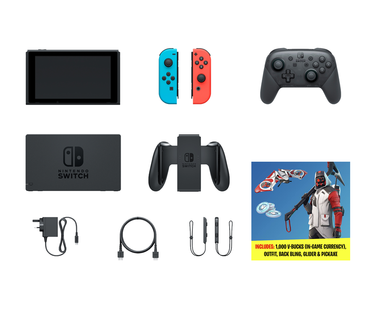 Buy Nintendo Switch Fortnite Bonus Epic Bundle Fortnite Double Helix Set 1000 V Bucks Nintendo Switch Pro Controller And Nintendo Switch 32gb Console With Neon Red And Neon Blue Joy Con Online In Jordan