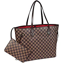 897652217bd98 Checkered Tote Shoulder Bag with inner pouch - PU Vegan Leather