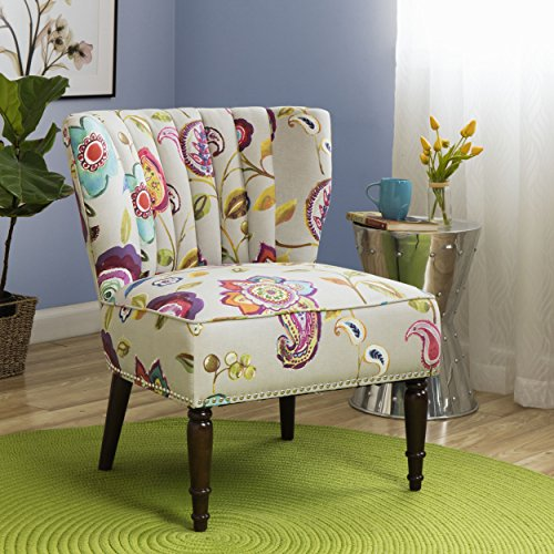Buy Tori 100 Percent Cotton Vibrant Floral Pattern Multi Color Upholstered Channel Back Accent Chair Online In Jordan B01iktu7qy