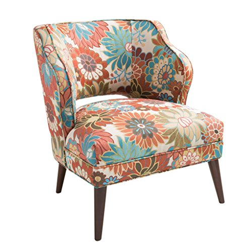 Modhaus Living Mid Century Modern Blue And Orange Floral Print Upholstered Accent Armchair With Brown Wood Legs Includes Pen Buy Products Online With Ubuy Jordan In Affordable Prices B072r78p71