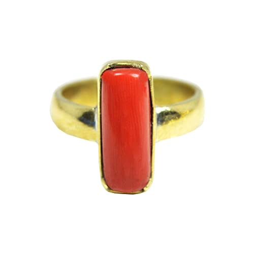 Red Coral Ring 9.3 Ct.//10.25 Ratti Moonga//Munga Stone Panchadhatu Ring for unisex Moonga by GEMS HUB Red