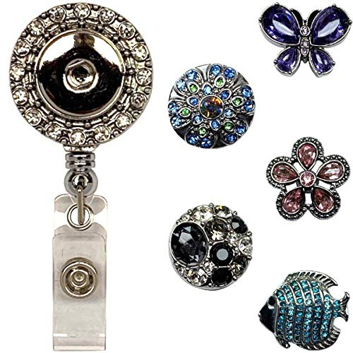 DF Multicolored Retractable ID Holder with Belt Clip and 5 Snap Charms Jewelry Set Real Charming Snap Charm Premium Decorative Badge Reel