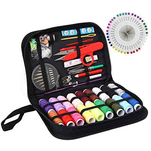 Lots of Premium Sewing Supplies Great for Adults etc Travel Mini Sewing Kits Professional Beginners M/&J Compact Sewing KIT Sewing Pins Includes: Thread Kids Emergency