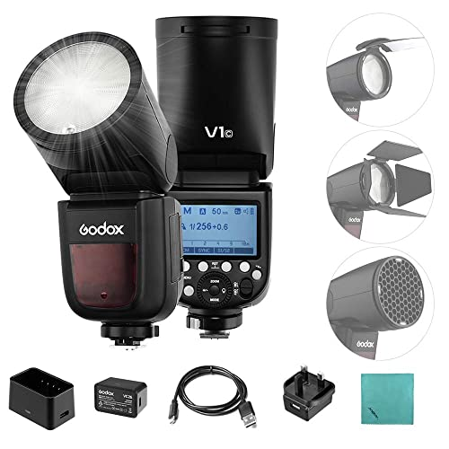 Godox V1C 76Ws 2.4G E-TTL II On-Camera Round Camera Flash Speedlight Compatible for Canon EOS Cameras,5600/±200k 480 Full Power Shots 1.5 sec Recycle Time,Rechargeable 7.2V 2600mAh Li-ion Battery