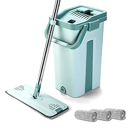 3 refills CLEAN LEADER Professional Microfiber Floor Mop and Bucket Kit,Self-cleaning System,Wet and Dry Mop For Hardwood