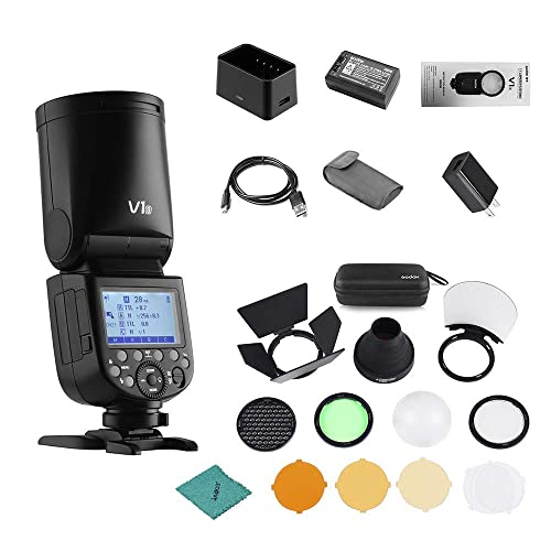 Recycle Time,Rechargeable 7.2V 2600mAh Li-ion Battery Godox V1C 76Ws 2.4G E-TTL II Flash with AK-R1 Pocket Flash Light Accessories Kit for Canon EOS Cameras,5600/±200k 1.5 sec 480 Full Power Shots