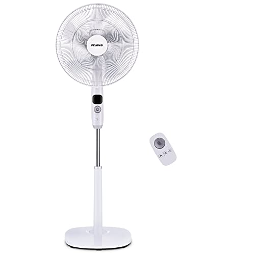Quiet DC Motor Oscillating Standing Pedestal Fan with Powerful 26 Speed 5 Silent Modes 16-Inch Renewed Adjustable Height and Tilt 12h On//Off Timer Black Remote Control PELONIS Fan