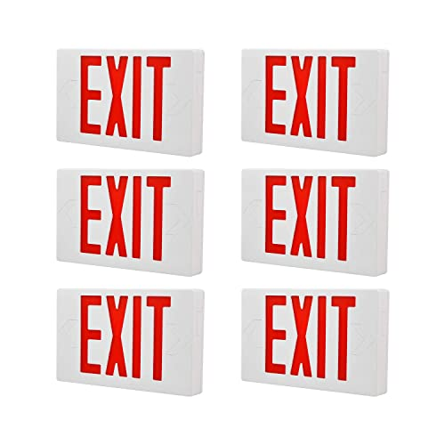 UL 924 and CEC Qualified 120-277 Voltage 4-Pack YaoKuem LED Combo Emergency EXIT Sign with 2 Adjustable Head Lights and Back Up Batteries- US Standard Red Letter Emergency Exit Lighting