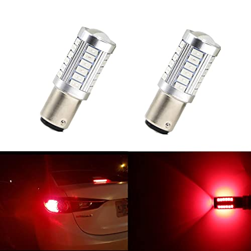Simdevanma Extremely Bright 1156 1141 7506 BA15S P21W 1073 T20 Led Bulb with Projector for for Back Up Reverse Lights,Tail Brake Lights,RV Lights,Red Pack of 2