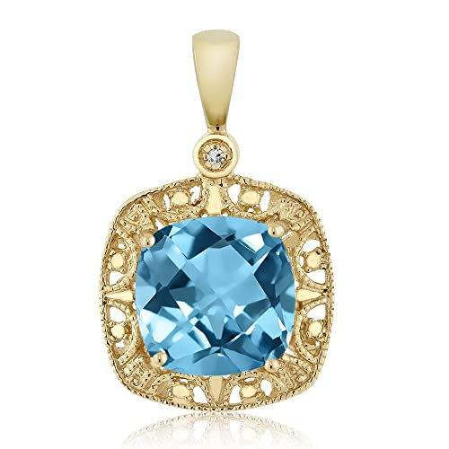 Gem Stone King 1.90 Ct Oval Checkerboard Swiss Blue Topaz 18K Yellow Gold Plated Silver Pendant