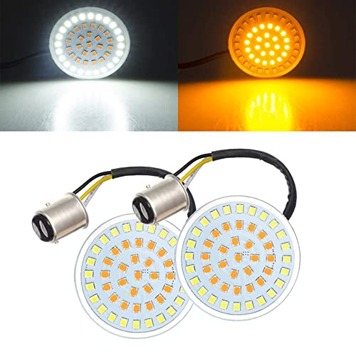 """Compatible for Harley Davidson Softail Dyna Sportster Touring 2 PCS Smoke Lens Cover Bullet Style Amber Turn Signal Light White Running Light Panel Amazicha 1157 2/"""" LED Turn Signals Inserts"""