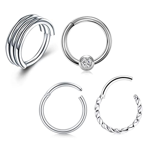 Ear Cartilage All Surgical Steel Choose Color Eyebrow Amelia Fashion 16 Gauge 7 Gem Front Facing Set Bendable Nose Ring Hoop for Nose