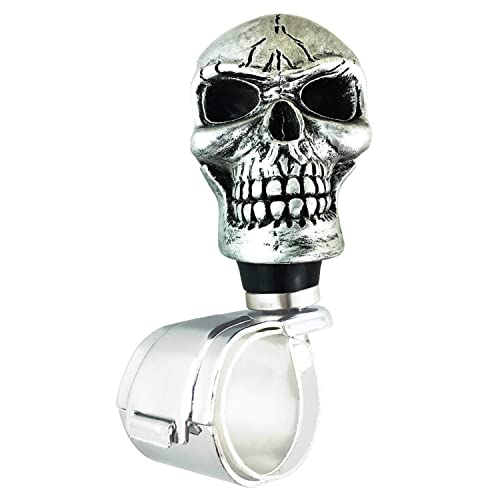 Abfer Suicide Knob Car Steering Wheel Power Turning Assist Spinner Helper Pirate Skull Shape Fit Vehicles Trucks Boats White