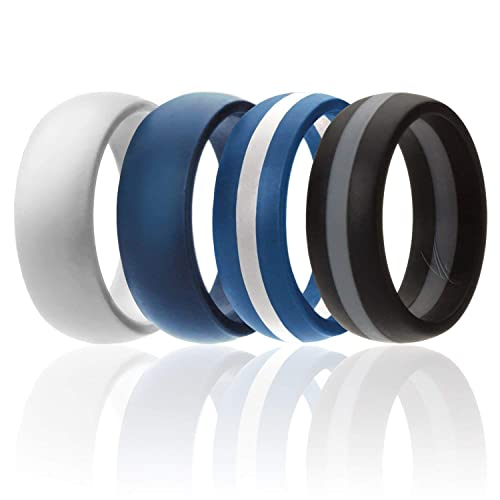 3 Silicone /& 1 Tungsten Carbide Wedding Rings for Men Mens Silicone Rings for Work//Sport//Hiking Duo Lines Style ROQ 4 Pack Tungsten Carbide Band for Special Events