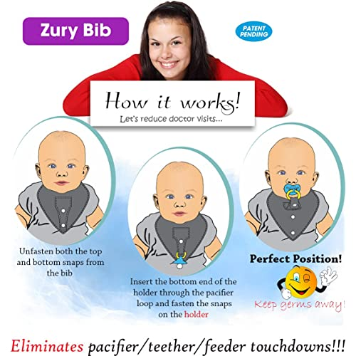 Drooling and Teething and Effective Cleverly Designed with a Pacifier//Teether Holder That is Practical ChaBabee 2-in-1 Muslin Zury Oval Large Bibs Safe 5 Pack Unisex for Boys and Girls