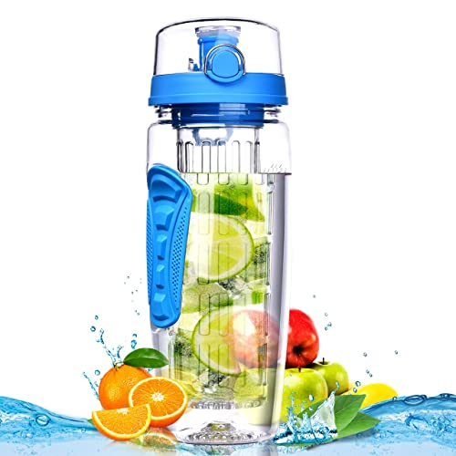 Bottom Loading Infuser for Long Lasting Flavor New One Handed Push Button Flip Top Lid w//Lock 24 oz BPA Free Plastics. Body Euphoria Pro Infused 3 in 1 Premium Fruit Infused Water Bottle
