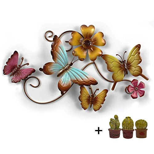 Buy Metal Butterfly Wall Décor And Artificial Cactus Pots By Cyscomma 10 6 X 15 Inches And 1 1 Inches Green Blue And Yellow Wall Art Butterflies Decor For Indoor And