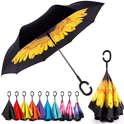 Double Layer Inside Out Folding Umbrella Reverse Inverted Windproof Surfboard Summer Beach Pattern Umbrella Upside Down Umbrellas with C-Shaped Handle for Women and Men