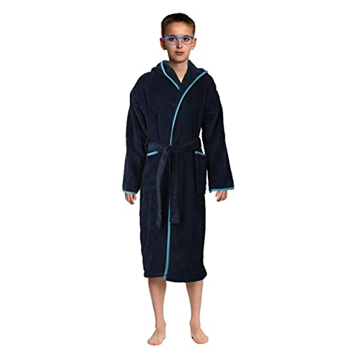 Abstract Bath Robe Towel Mens//Boys 100/% Cotton Hooded-Terrycloth-Velour Finishing Outside Color Navy//Blue 2 Pockets