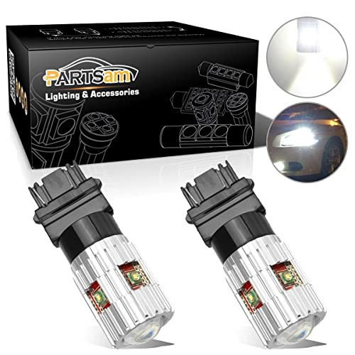 Pack of 2 Partsam 1900 Lumens High Power Canbus 3056 3156 3057 3157 4157 LED Bulbs Xenon White with Projector for Back Up Reverse Lights,Brake Lights,Tail Light