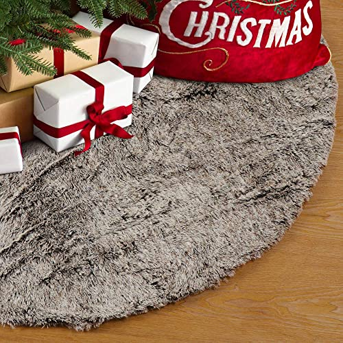 Buy S Deal 48 Inches Faux Fur Christmas Tree Skirt Decoration Double Layers Soft Carpet Xmas Holiday Party Ornaments Indoor Outdoor Decorative Gift Brown Online In Jordan B081xh9br1