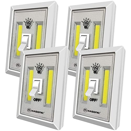 Battery Operated Cordless Light Switch 300 Lumen Closet Light New Hope Store Cabinet Lamp Tap Light for Baby Nursery Hallways COB LED Night Light Battery not Included Bedrooms 4-Pack