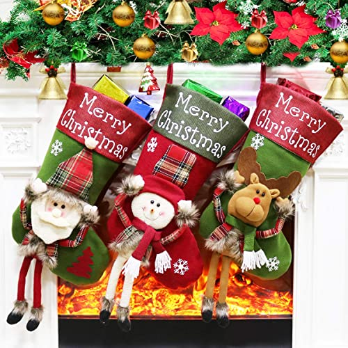 Buy Dreampark Christmas Stockings Big Xmas Stockings Decoration 18 Santa Snowman Reindeer Stocking For Home Decor Set Of 3 Online In Jordan B07hgzlf9p