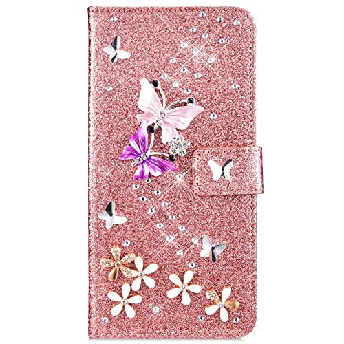IKASEFU Compatible with MOTO G7//G7 Plus Case Glitter Pu Leather Diamond Bling Wallet Strap Case with Card Holder shockproof Magnetic Flip Book Bumper 3D Painted Stand Cover Case Eiffel Tower