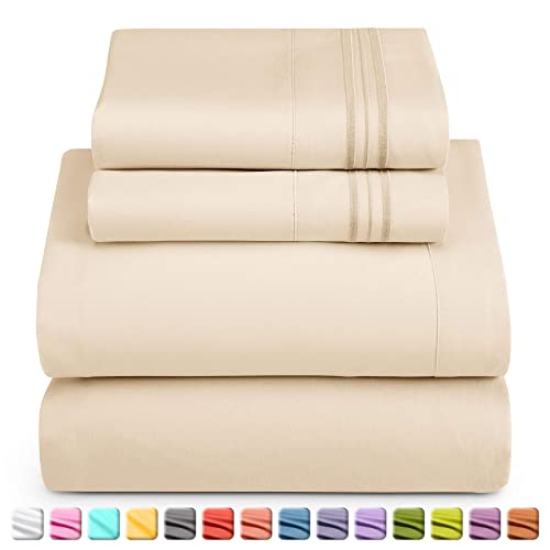 """14/""""-16/"""" Deep Pocket Fitted Sheet Black Queen Nestl Bedding Damask Dobby Stripe 6 Piece Set Ultra Soft Double Brushed Microfiber Top Sheet 4 Hypoallergenic Wrinkle Free Cooling Pillow Cases"""