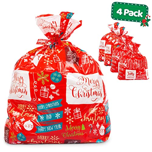 """Qty 1 New Christmas House Giant Gift Presents Bag w Tag 36/"""" x 44/"""" ~ Trees"""