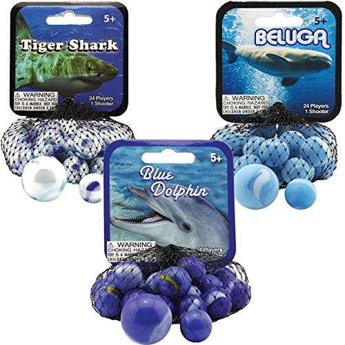 /& Starfish Game Nets Blue Tang Includes 1 Shooter Marble /& 24 Player Marbles Per Net Clownfish Mega Marbles 3 Pack