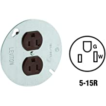 3-Wire Round Type Single Receptacle On 4-Inch Cover Zinc Plated Steel 125 Volt Leviton 5059 15-Amp