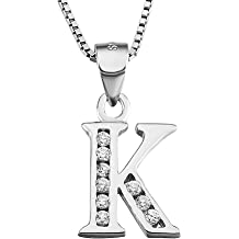 4476d6800 YFN S925 Sterling Silver Cubic Zirconia 26 Initial Letters Alphabet  Personalized Pendant Necklace
