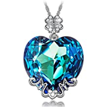 1c40e4da3 LADY COLOUR ♥Best Mom Gifts♥ Blue Heart MOM Pendant Necklace Made with Swarovski  Crystals - Lucky Clover Design Hypoallergenic Jewelry Gift .