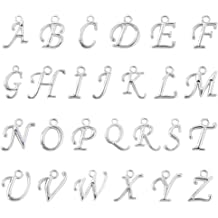 WFPLUS 130 Pcs//5 Set Silver Plated Alphabet Charms Beads Mini A-Z DIY Crafts Charms Letter Charms Pendant Set for Jewelry Making Accessory