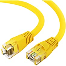 350MHz GOWOS Cat5e Ethernet Cable 20-Pack - 0.5 Feet Yellow 24AWG Network Cable with Gold Plated RJ45 Snagless//Molded//Booted Connector 1Gigabit//Sec High Speed LAN Internet//Patch Cable