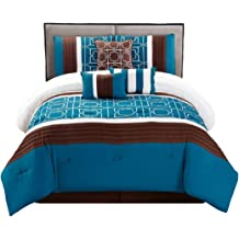 WPM 7 Pieces Complete Bedding Ensemble Brown turquoise blue white flower print Luxury Embroidery Comforter Set Bed-in-a-bag Bedding-Antonia Queen
