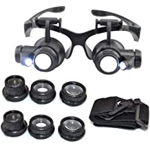 HunterBee 10x-25x High Diopter Short Focus Eyeglass Led Lighted Style Jewelers Loupe with 6 Lenses//Watch Repairing and Inspection