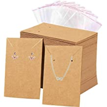 BEADNOVA Earring Cards for Display 100 Pcs Kraft Paper Earring Display Cards Ear Studs Card Jewelry Card 2 x 3.5 Inches, Brown