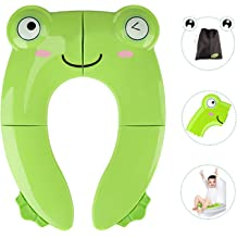 Protection Against Bacteria Baby Toddler Training Booster and Camping Urinal Foldable Potty Seat with 10 Disposable Paper Toilet Covers Green Non-Slip Portable Restroom for Boys Girls Kids Travel