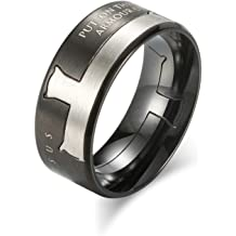 Bishilin Mens Ring Sterling Silver Buddhist Scriptures Anniversary Partner Ring Silver Size 12.5