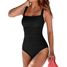 c90f1f17e3 Upopby Women's Vintage Padded Push up One Piece Swimsuits Tummy Control  Bathing
