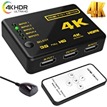 Supports 4K HDMI Switch splitter,Wewdigi Intelligent 5-Port HDMI Switch Full HD1080p Black-5port. 3D with IR Remote