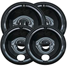 Sikawai WB31M20 and WB31M19 Range Cooktop Porcelain Drip Pans Set Replacement for GE Includes 2 6-Inch and 2 8-Inch Pans 4 Pack