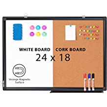 QUEENLINK Magnetic Whiteboard Dry Erase Whiteboard with Aluminium Frame 40 X 60 cm for Home Office Message Schedule Photos