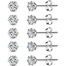 ba1b86790 5 Pairs of Spectacular 3mm Cubic Zirconia Set in Hypoallergenic Stainless  Steel Stud Earrings for Men