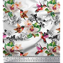 Soimoi Pink Cotton Cambric Fabric Rose Watercolor Decor Fabric Printed BTY 42 Inch Wide